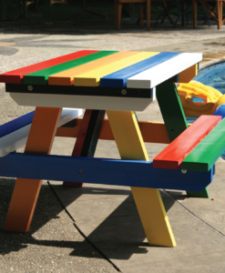 Kinderpicknicktafel kleurrijk hardhout (Afmeting: L80xB71xH53cm)