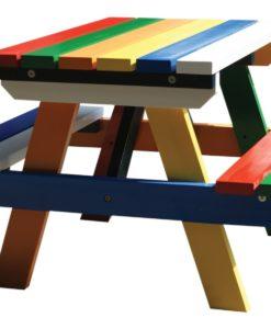 Hardhouten junior picknicktafel in kleur gespoten