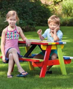 Kinderpicknicktafel kleurrijk hardhout