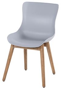 Natural teak frame met misty grey seat