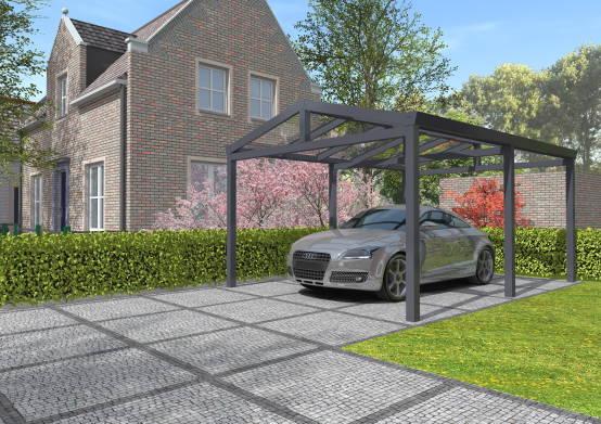 carport enkel met polycarbonaat zadeldak - Vermeulen Steen & Hout